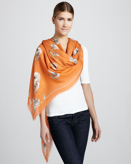 Bird & Apple Skull Scarf, Orange