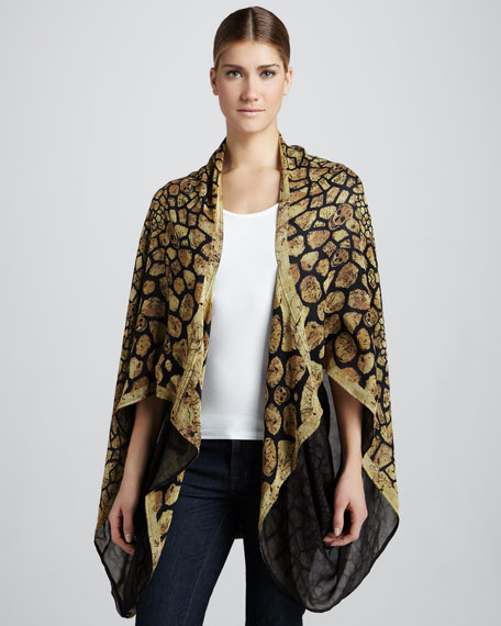 Animalier Georgette Cape, Black/Yellow