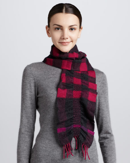 Ruched-Check Cashmere Scarf, Fuchsia