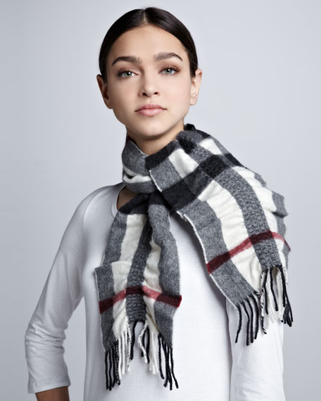 Ruched-Check Cashmere Scarf, Ivory