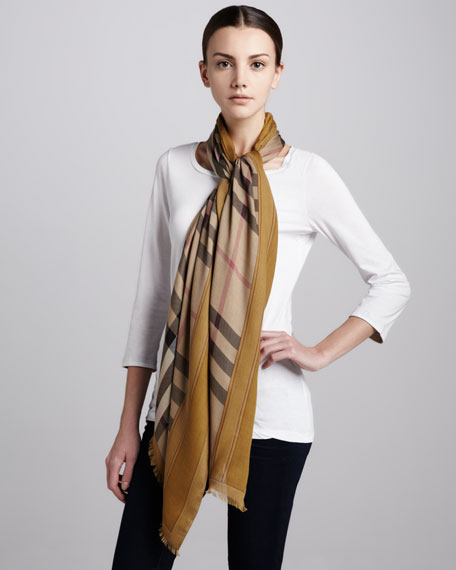 Color-Border Haymarket Check Cashmere Scarf, Dark Mustard