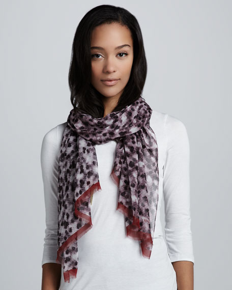 Layered Chalk-Dot Print Scarf, Dusty Garnet