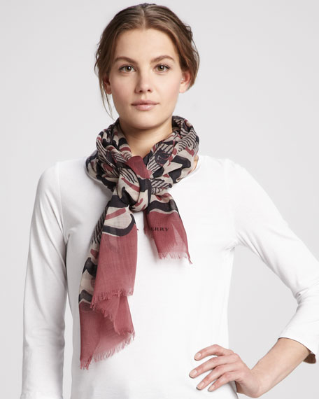 Painted Floral Striped Cashmere Scarf, Dusty Garnet