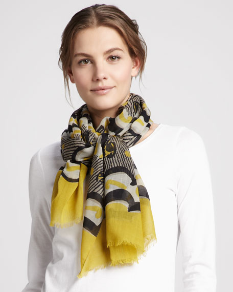Painted Floral Striped Cashmere Scarf, Lemon Quartz