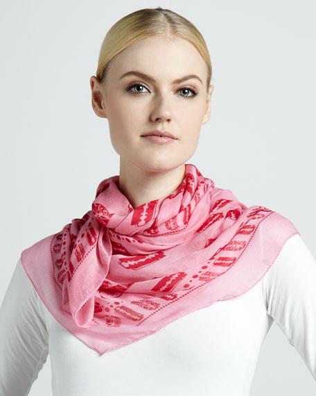 Razor Blade-Print Square Scarf, Hot Pink