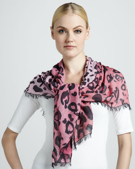 Animal Print Scarf, Hot Pink