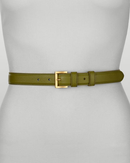 Saffiano Dress Belt, Edera