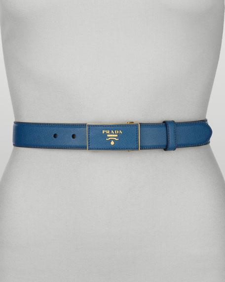 Saffiano Logo Belt, Cobalto