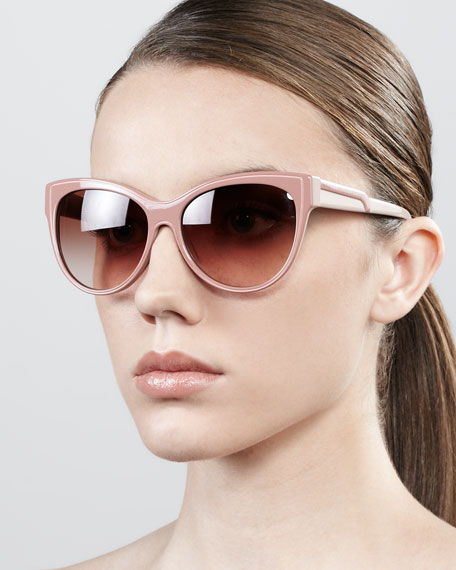 Soft Opaque Cat-Eye Sunglasses, Pink