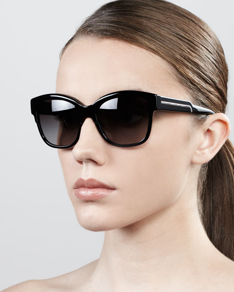Large Square Sunglasses, Blue