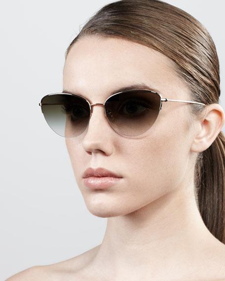 Kiley Semi-Rimless Cat-Eye Sunglasses, Golden