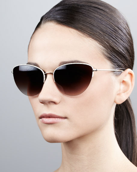 Kiley Semi-Rimless Cat-Eye Sunglasses, Beige/Silk