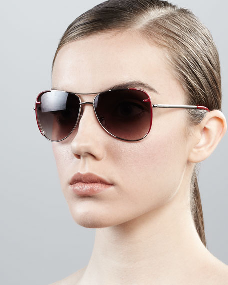 Zucca-Trim Aviator Sunglasses, Silvertone/Red