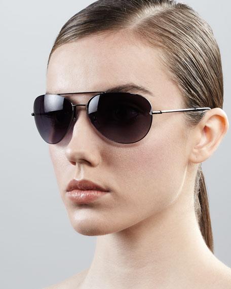 Hilary Aviator Sunglasses, Gunmetal