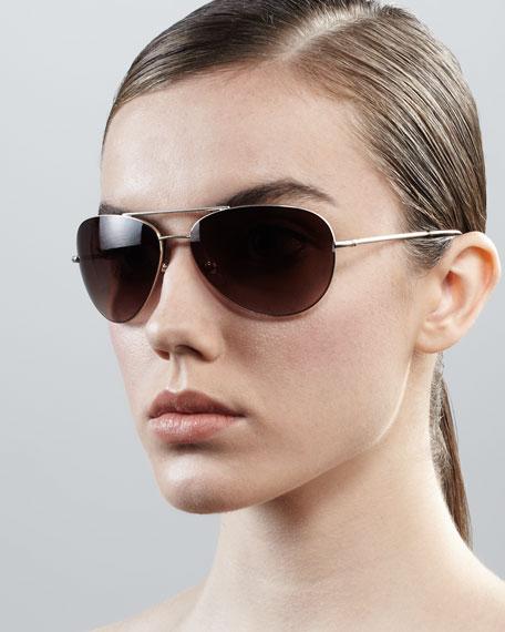 Hilary Aviator Sunglasses, Sand