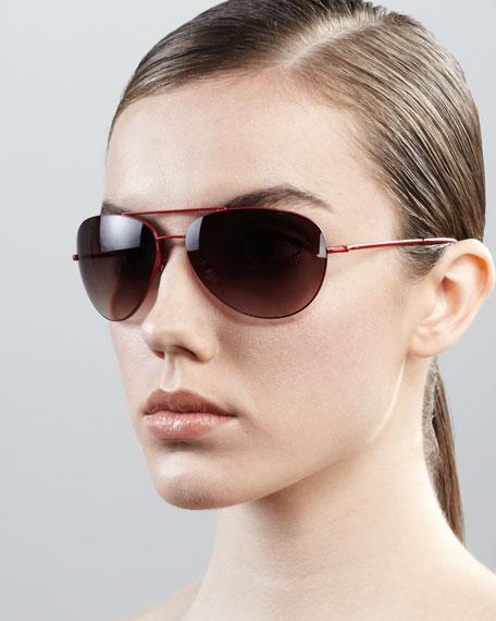 Hilary Aviator Sunglasses, Red