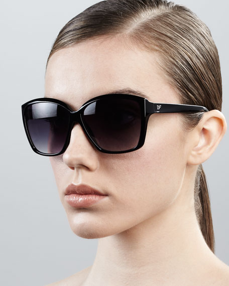 Elisa Oversized Square Sunglasses, Black