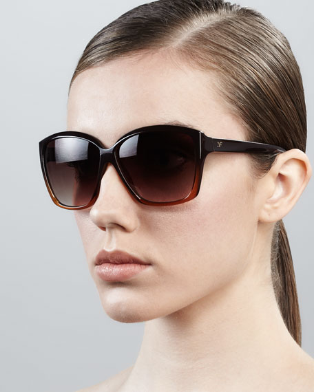 Elisa Oversized Square Sunglasses, Brown Amber
