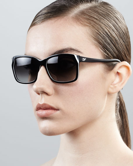 Darcee Rectangle Sunglasses, Black
