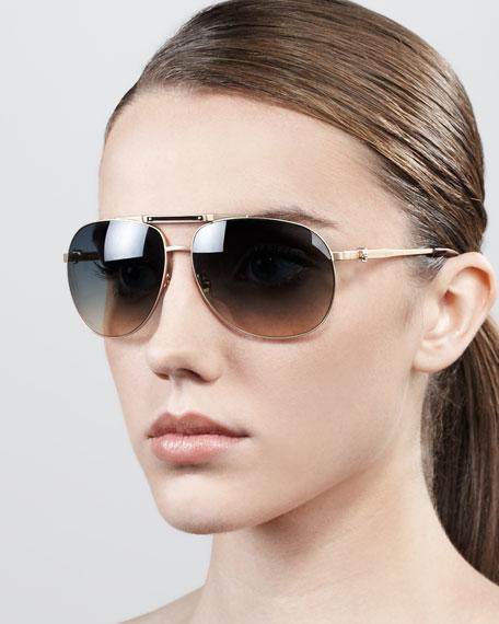 Skull Aviator Sunglasses, Gold Shiny Matte