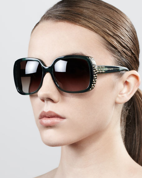 Studded Oversized Wrap Sunglasses, Military Green