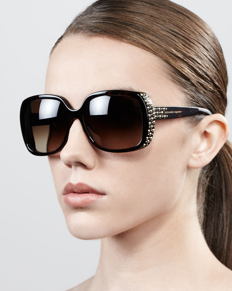 Studded Oversized Wrap Sunglasses, Havana