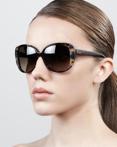 Taffeta Etched Soft-Cat-Eye Sunglasses, Brown Havana