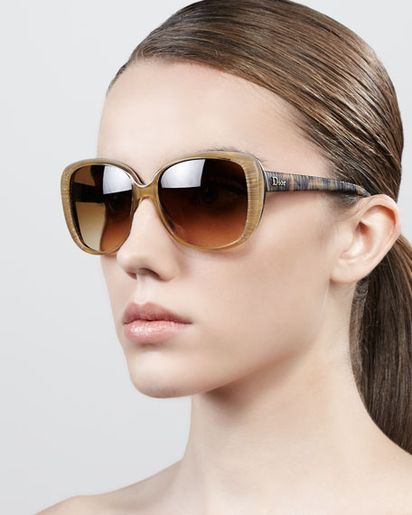 Taffeta Etched Soft-Cat-Eye Sunglasses, Honey