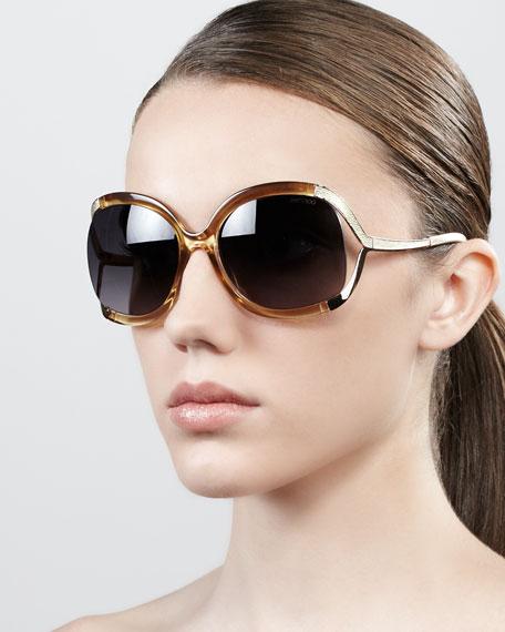 Beatrix Open-Temple Round Sunglasses, Beige Gold
