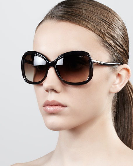 Margy Oversized Square Sunglasses, Opal Brown