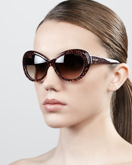 Valentina Panther-Print Oversized Oval Sunglasses, Brown