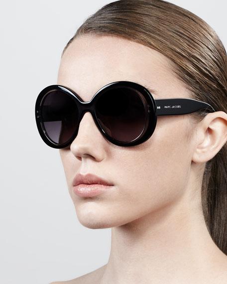 Thick-Rim Round Sunglasses, Black/Gray