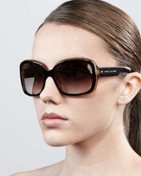 Thick-Rim Rectangle Sunglasses, Honey/Havana