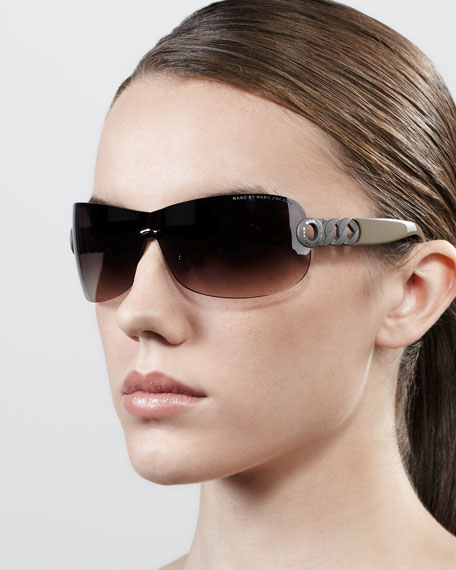 Chain-Temple Shield Sunglasses, Black