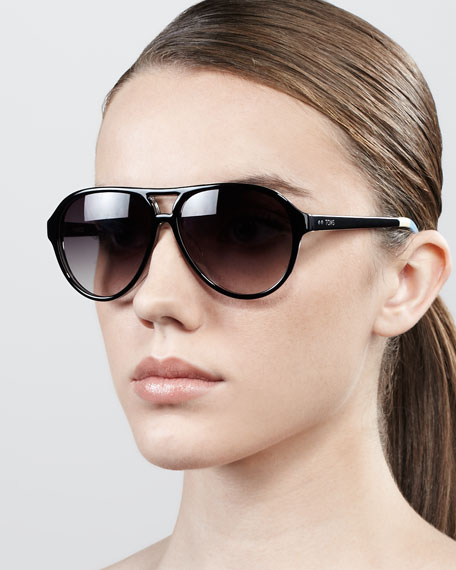 Marco Oversized Aviator Sunglasses, Black
