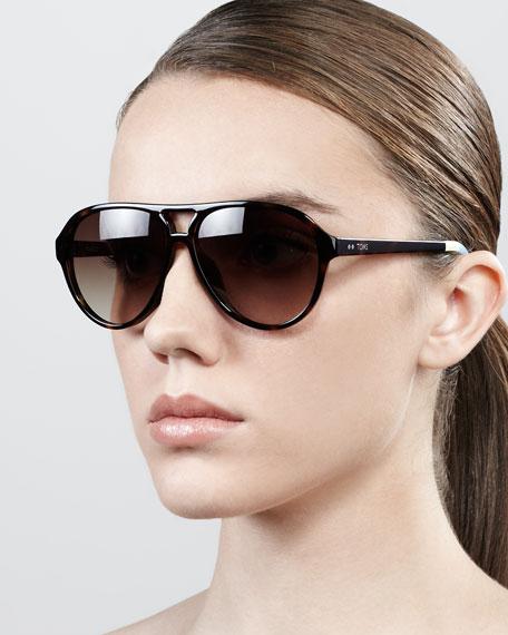 Marco Oversized Aviator Sunglasses, Brown