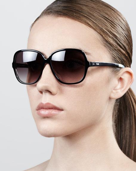 Marisol Square Acetate Sunglasses, Black
