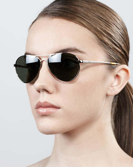 Kilgor Aviator Sunglasses, Golden/Sienna Brown