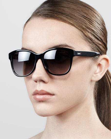Semi-Round Logo Sunglasses, Black
