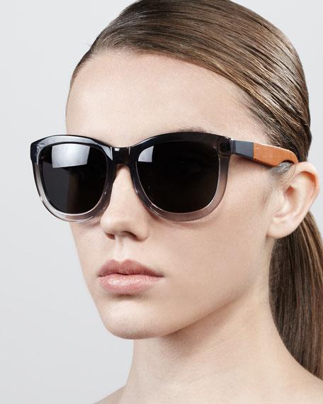 Leather-Arm Classic Sunglasses, Gray/Tan