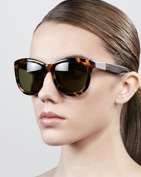 Leather-Arm Classic Sunglasses, Tortoise