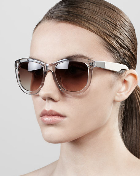 Leather-Arm Classic Sunglasses, Clear Gray