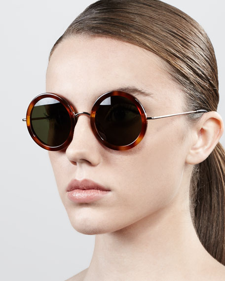 Round Metal-Arm Acetate  Sunglasses, Light Tortoise