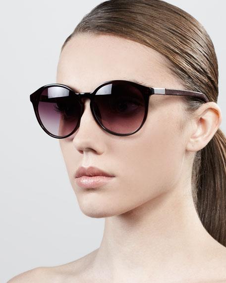 Oversized Round Sunglasses, Dark Red