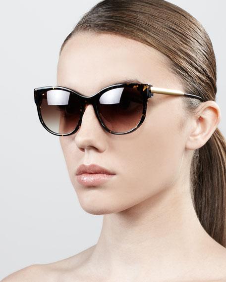Slight Cat-Eye Sunglasses, Dark Brown