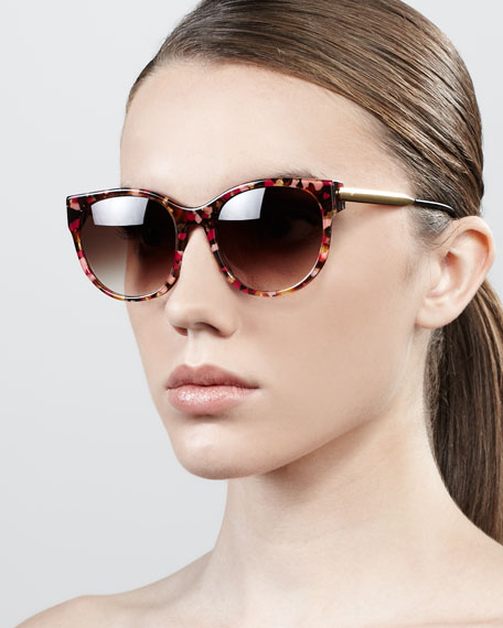 Slight Cat-Eye Sunglasses, Pink Tortoise