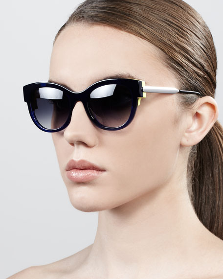 Angely Colored-Temple Sunglasses, Navy/Yellow