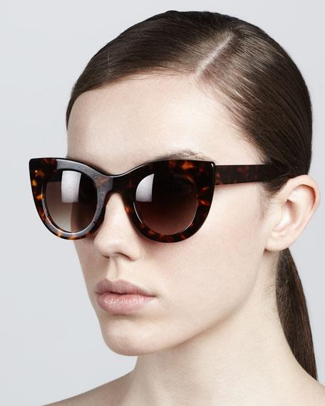 Orgasmy Wide Cat-Eye Sunglasses, Dark Havana