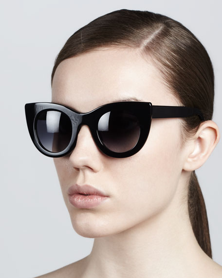 Orgasmy Wide Cat-Eye Sunglasses, Black