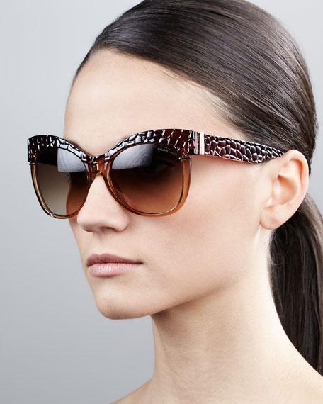 Pebble-Textured Cat-Eye Sunglasses, Brown/Rose Golden